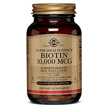 ניס Amazon.com: Solgar Super High Potency Biotin 10,000 mcg, Non-GMO AL-91