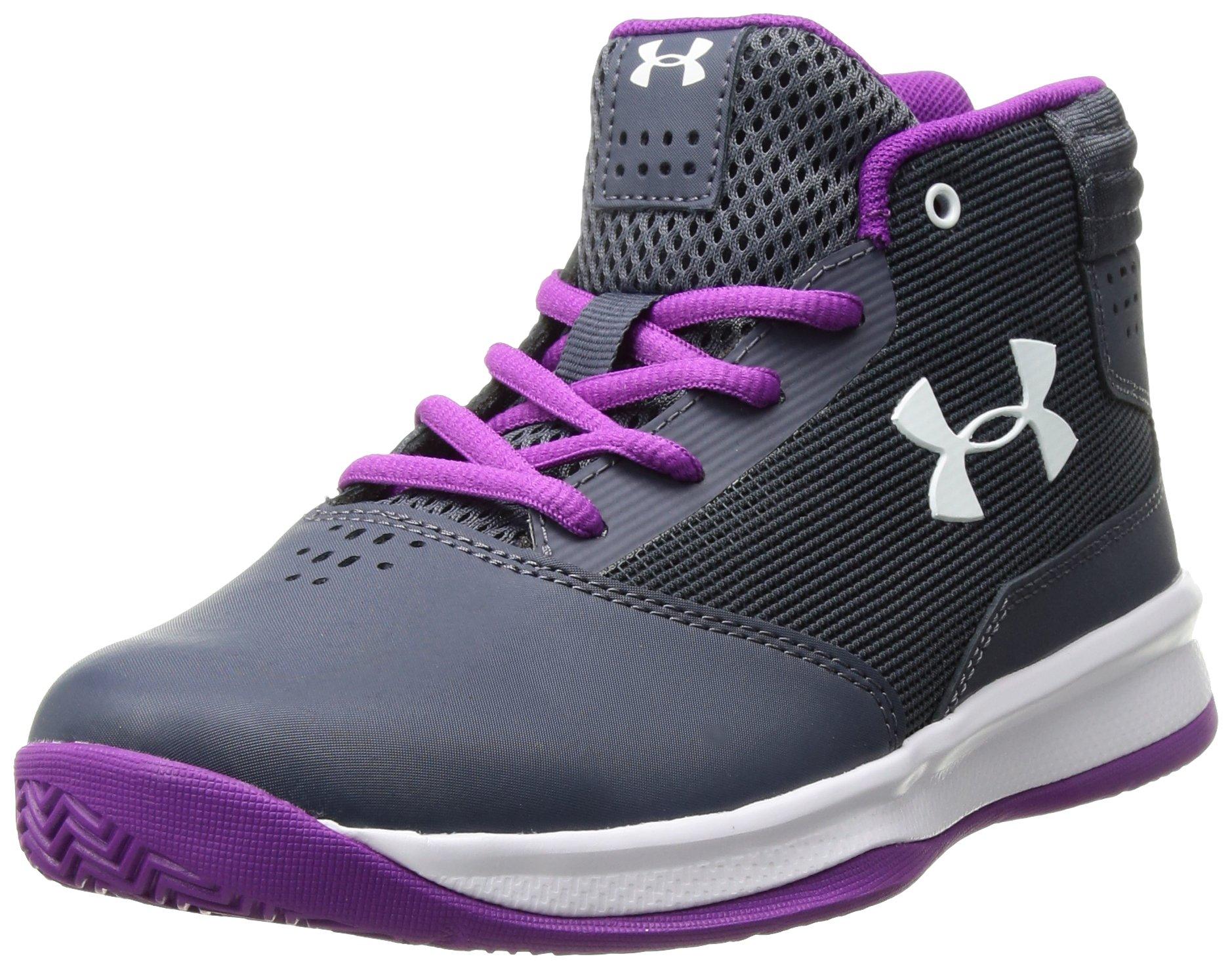 Under Armour Girls' Pre School Jet 2017 Basketball Shoe, Apollo Gray (962)/White, 1.5