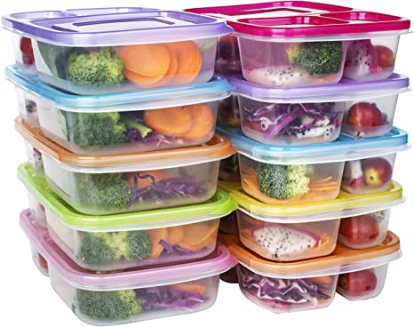 Amazon Com Meal Prep Containers 3 Compartment Food Storage Reusable Plastic Bento Microwavable Lunch Boxes With Lids Bpa Free 10 Pack Stackable Dishwasher Freezer Safe Portion Control 32oz Kitchen Dining