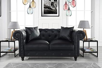 Amazon.com: DIVANO ROMA FURNITURE Classic Living Room Bonded Leather ...