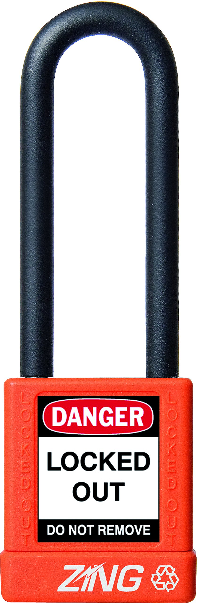 ZING 7058 RecycLock Safety Padlock, Keyed Different, 3'' Shackle, 1-3/4'' Body, Orange