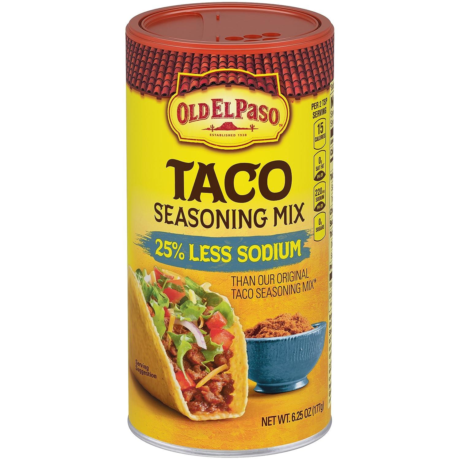 Amazon Old El Paso 25 Less Sodium Taco Seasoning Mix 625 Oz