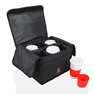 Katai - Insulated Drink and Food Carrier Tote for Delivery - Reusable Cup Holder Bag, Perfect for Hot and Cold Beverages - Equipped with Removable Dividers - Complete with 2 Silicone Cup Sleeves