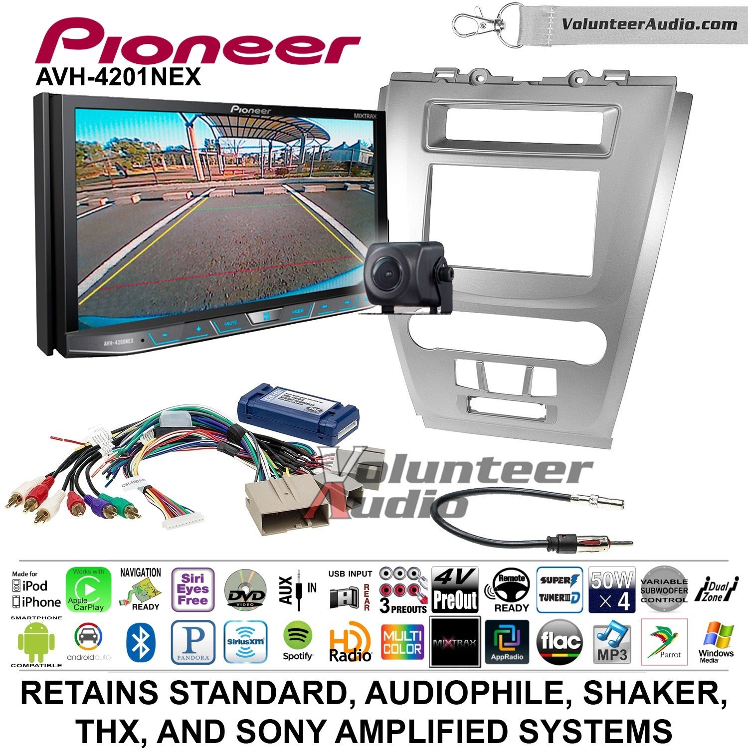 Volunteer Audio Pioneer AVH-4201NEX Double Din Radio Install Kit with Apple Carplay Android Auto Bluetooth Fits 2010-2012 Fusion (Silver)