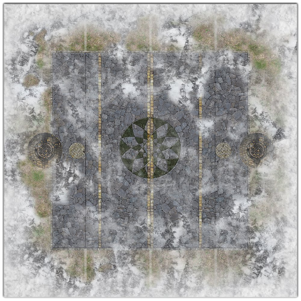 Field of Battle Snow Wargaming - 36x36 Inch Playmat Table Top Roleplaying and Miniature Battle Game Mat Great for Warhammer 40k Star Wars Minis Warmachine Polyester with Anti-Slip Rubber Backing