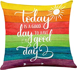 yuzi-n Today is a Good Day to Have a Good Day Inspirational Quote Pillow Covers, Inspirational Home Sofa Couch Decor, Motivational Office Decor 18 x 18 Inch