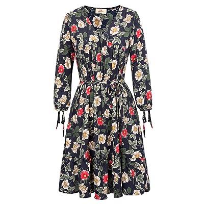 GRACE KARIN Women's V-Neck Floral Print Tunic Dress