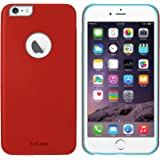 AirCase iPhone 6s / 6 Leather Feel 1mm Slim Back Case/Cover with Apple Cut Out (Red)