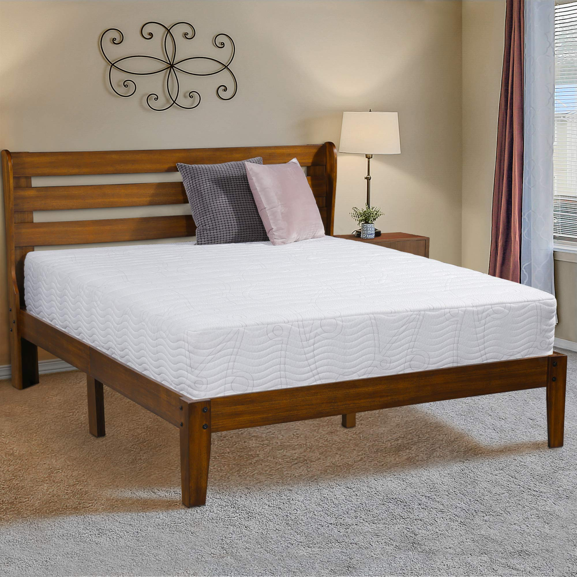 Ecos Living 14 Inch High Rustic Solid Wood Platform Bed Frame with Headboard/No Box Spring/No Squeak (Brown, Queen)