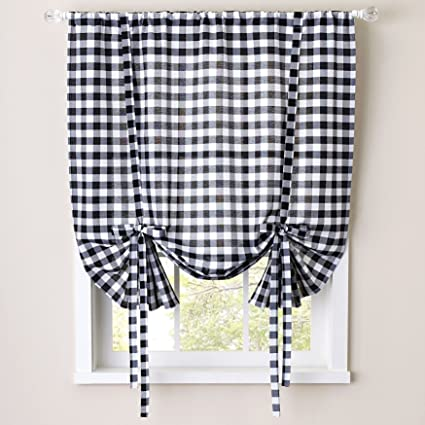 Sweet Home Collection Kitchen Window Curtain Treatment Panel 63 Black White
