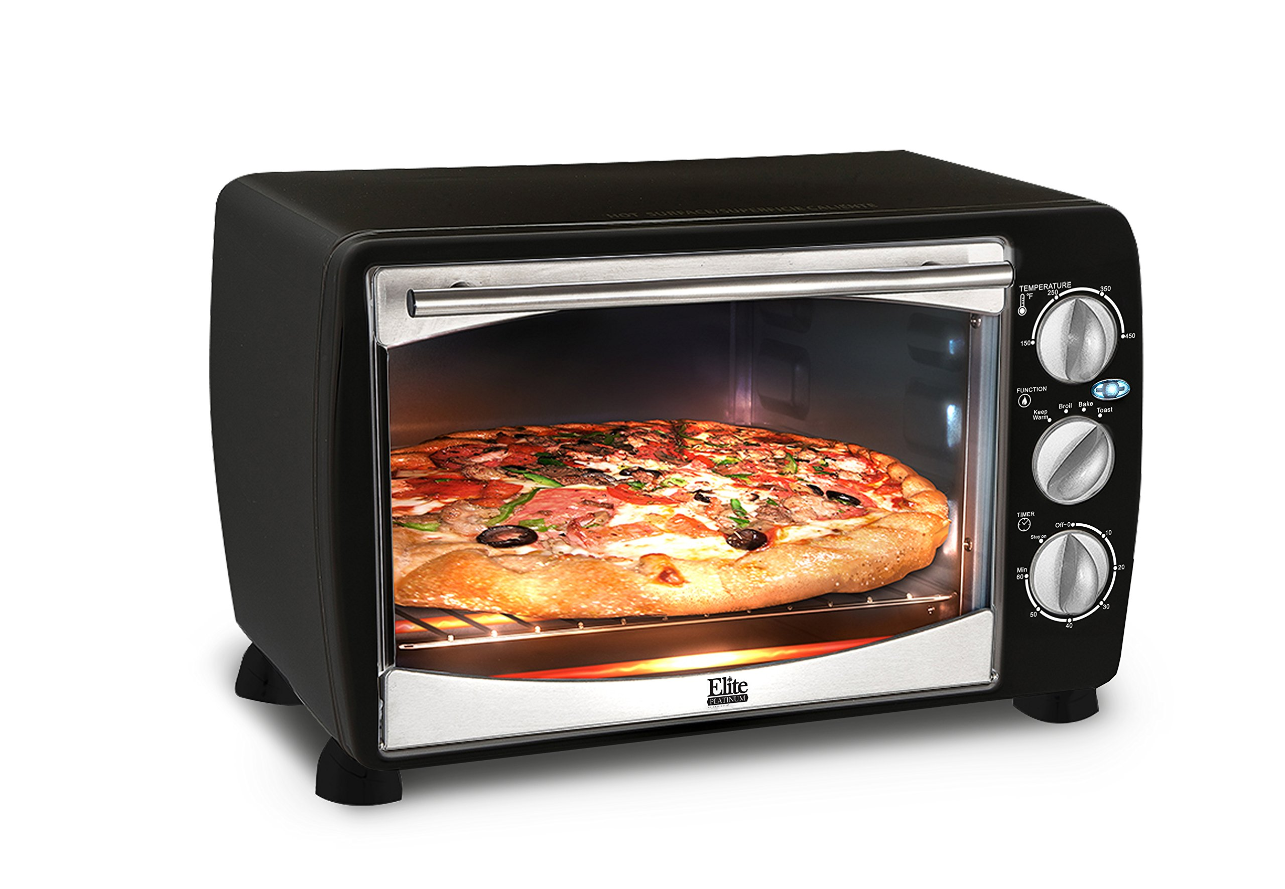 Elite Platinum ETO-180B Maxi-Matic 6-Slice Toaster Oven Boiler, Black