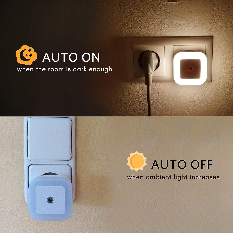 la habitaci/ón de los ni/ños la cocina Blanco c/álido SOAIY 4 PCS la escalera - Luz de noche regulable con sensor crepuscular Brillo de luz LED Regulable infinitamente para el dormitorio