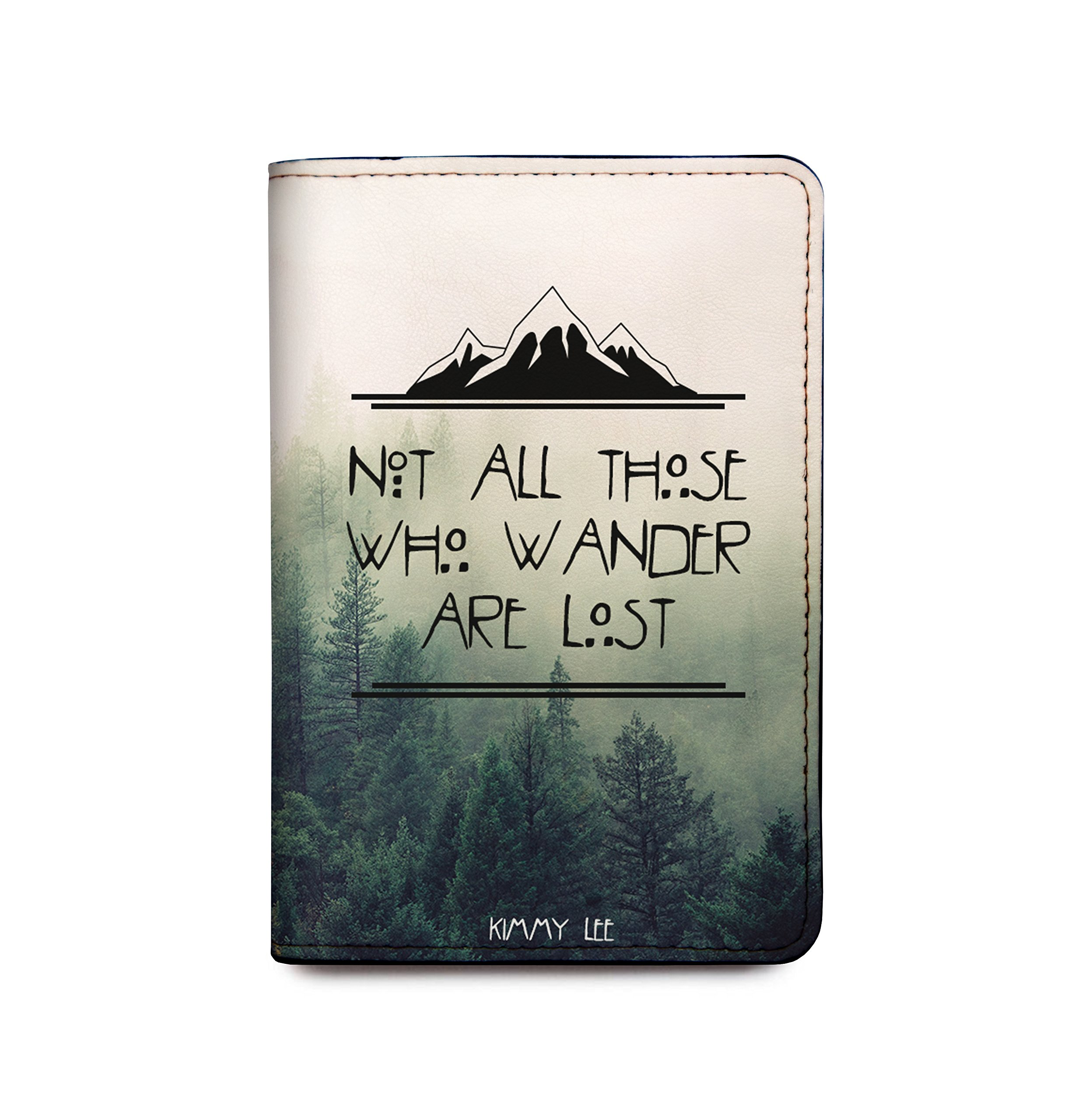 Personalized Leather Passport Cover Wallet - Not All Those Who Wander Are Lost