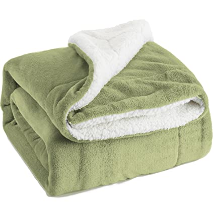 Image Unavailable. Image not available for. Color  Bedsure Sherpa Fleece  Blanket Twin Size Sage Green Plush Throw ... 32e742726