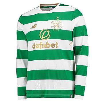 acd9a7fcc New Balance Celtic Home Shirt 2017-18 - Long Sleeve - Kids  Amazon ...