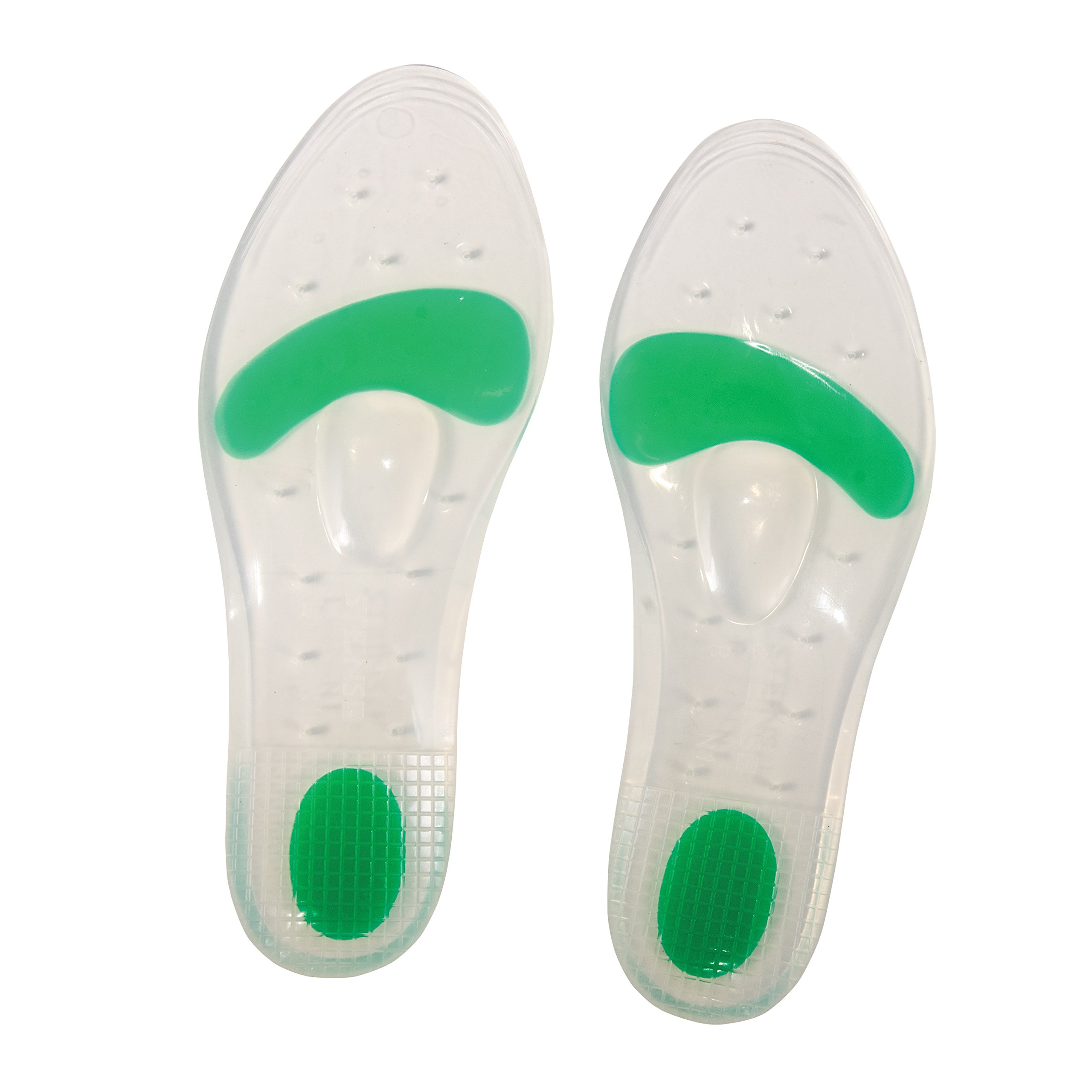 Stein's Silicone Dual Density Comfort Shoe Gel Insoles for Extra Arch Support and Feet, Ankle, Knee and Hip Joint Relief, Men (Size 9.5 to 10.5) or Women (Size 10.5 to 11.5), Green