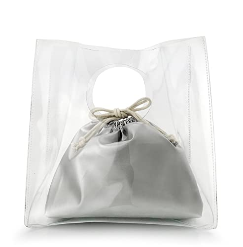 Minimalist Clear Handbag Women s Clutch with Pu Leather Drawstring Pouch ( Silver) da5c8913afb58