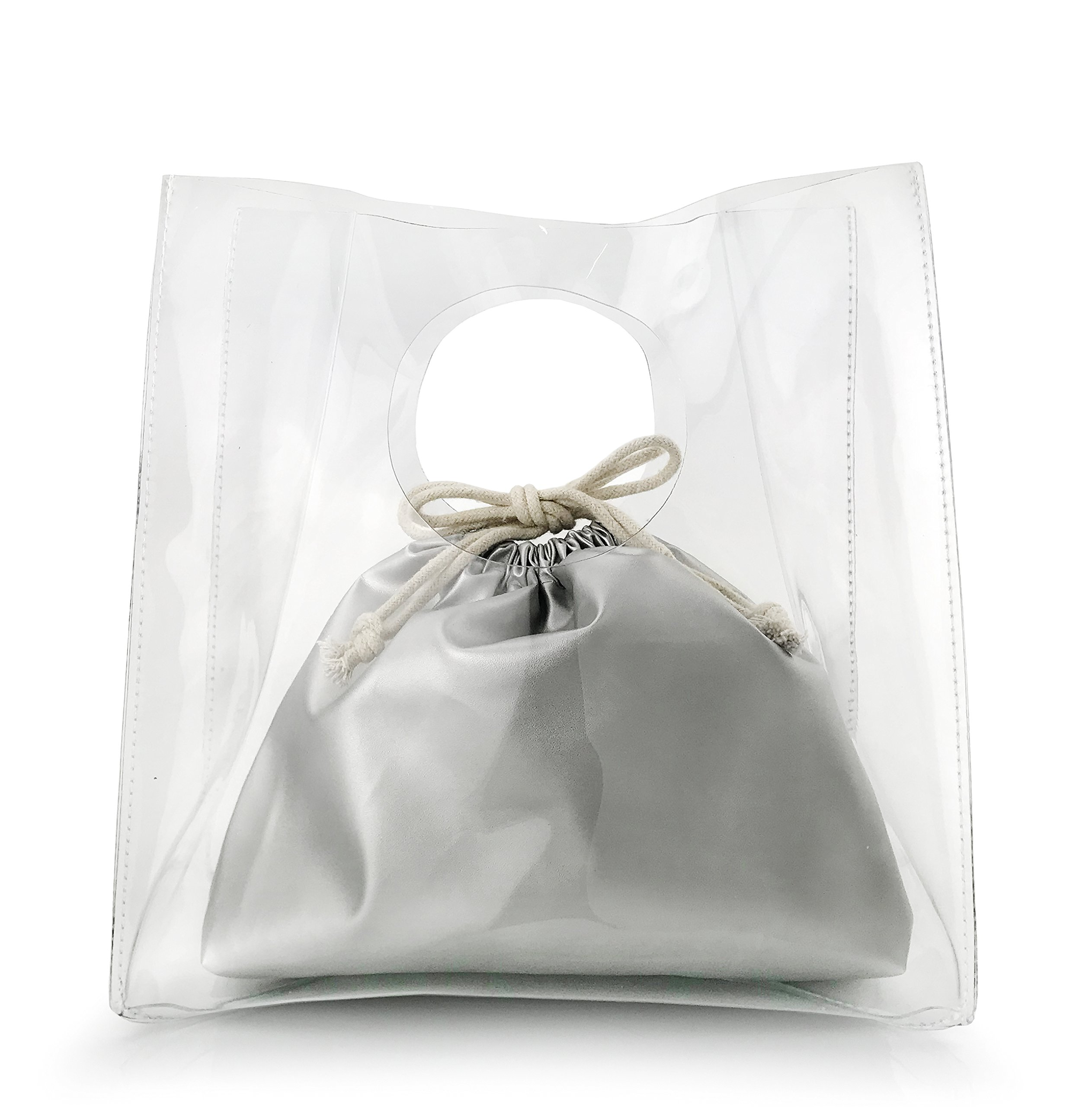 Minimalist Clear Handbag Women's Clutch with Pu Leather Drawstring Pouch (Silver)