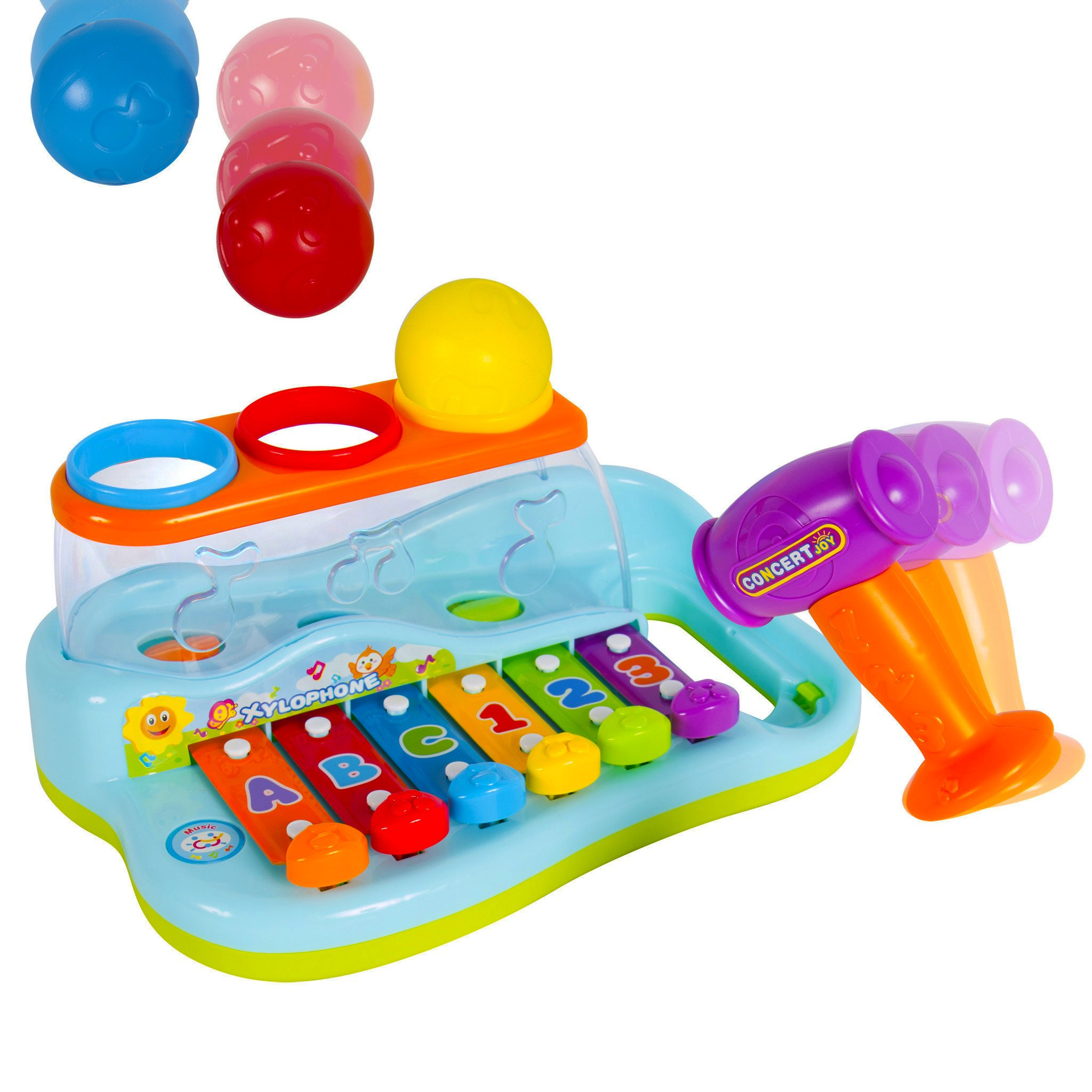 Liberty Imports Rainbow Xylophone Piano Pounding Bench for Kids with Balls and Hammer by Liberty Imports (Image #1)