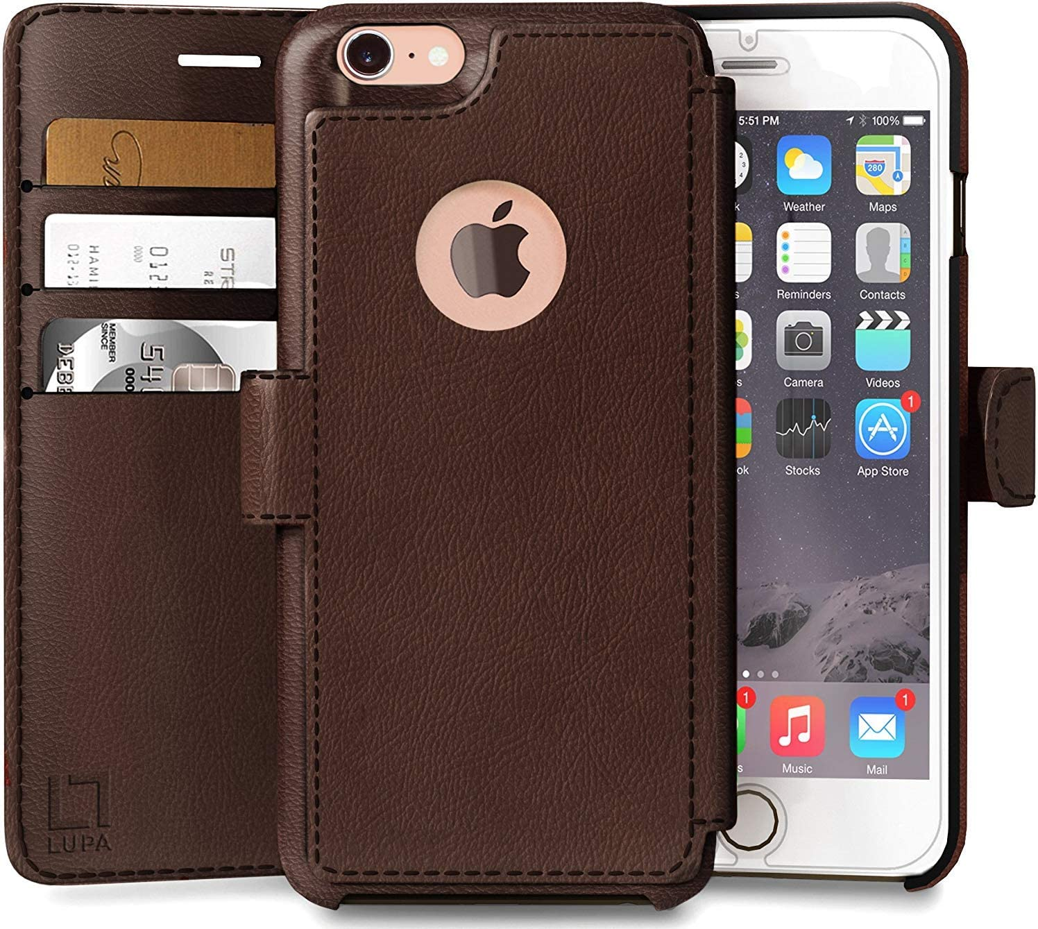 LUPA Wallet case for iPhone 8, Durable and Slim, Lightweight, Magnetic Closure, Faux Leather, Dark Brown