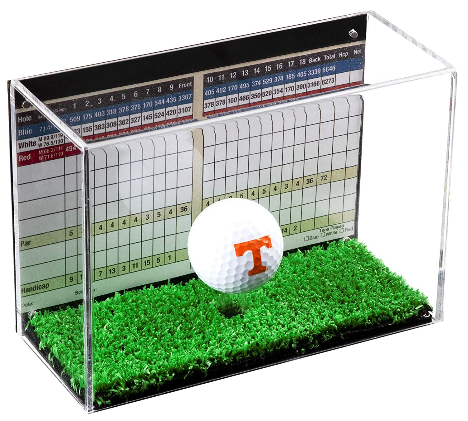 Deluxe Clear Acrylic Golf Memorabilia Display Case with UV Protection with Turf Floor (A045) B06XTQCH2Y