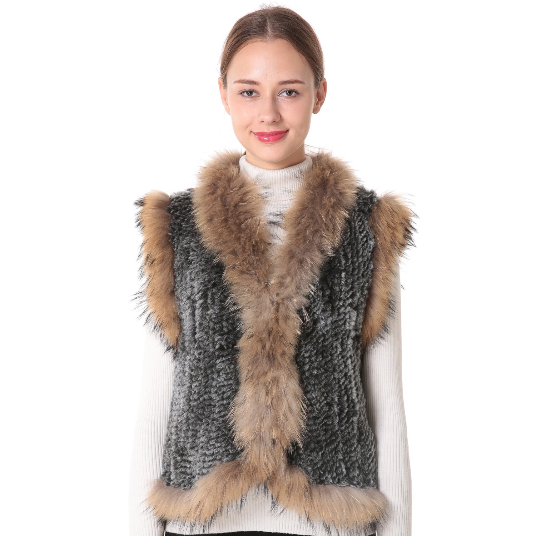 Nice Glory Women's Rex Rabbit Fur Sleeveless Knit Vest with Coyote Fur on The Edge.