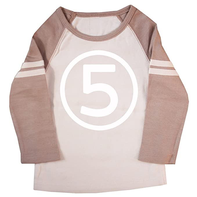 Happy Family Clothing Little Boys Fifth Birthday Striped Raglan T Shirt