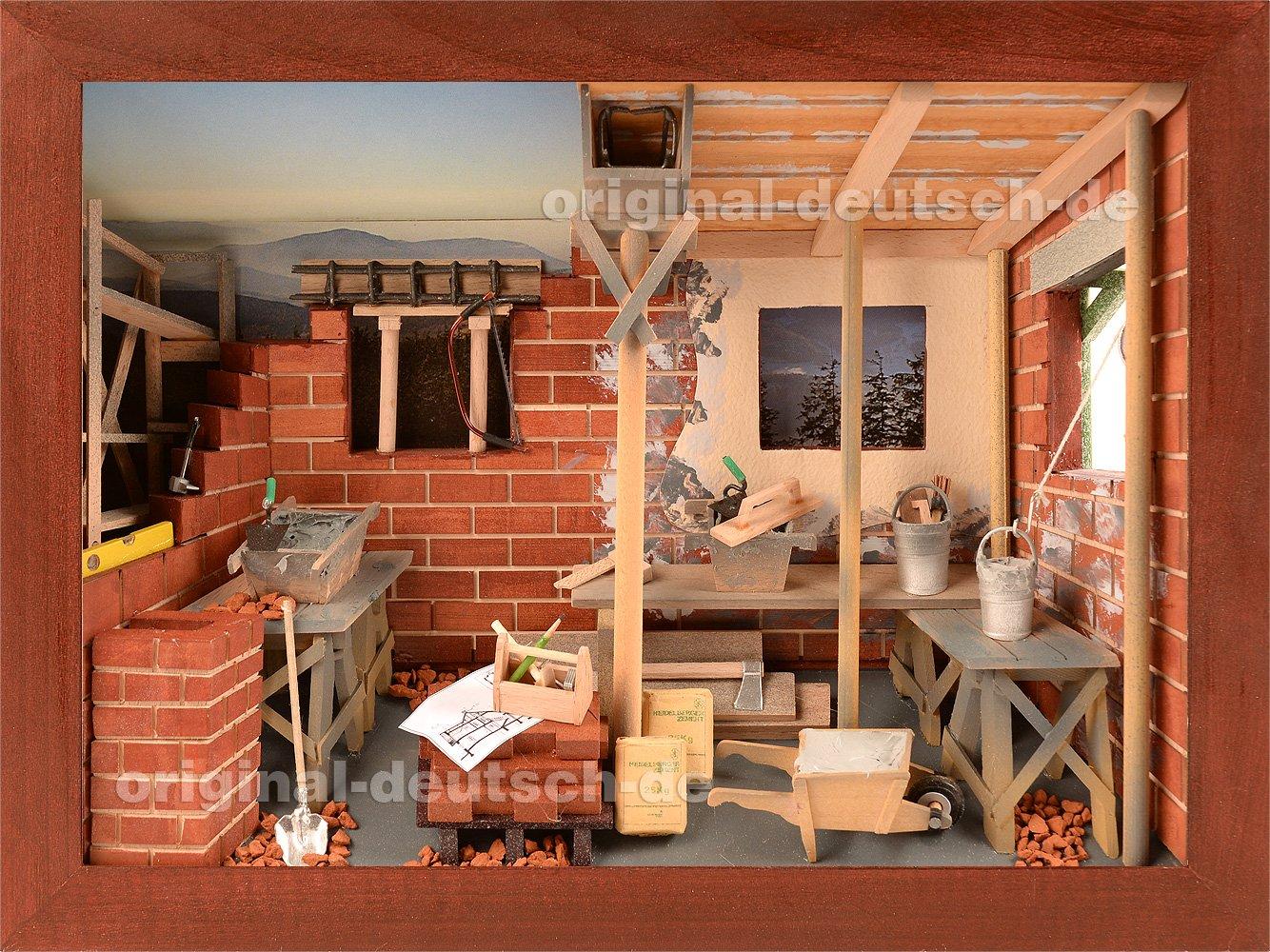 3D Holzbild Maurer, lasiert - Geschenk für Maurer   Bauleiter   Hausbauer   Bauhandwerker