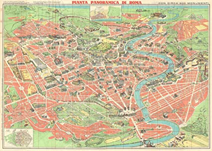 Amazon.com: Historic Map | Trabacchi Pictorial Map of Rome ...