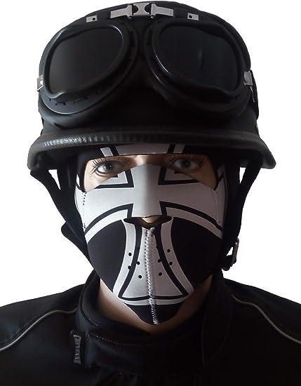 Color Negro Mate Casco De Moto Con Gafas De Aviador Cheyenne Oldtimer Ropa Y Accesorios De Protección Cascos