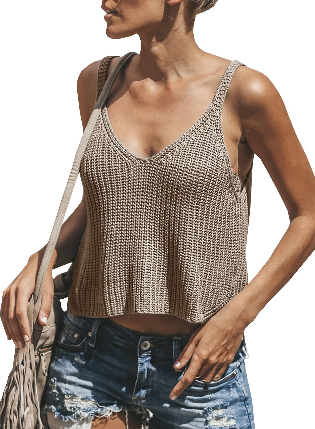 Dellytop Womens V Neck Sleeveless Sweater Spaghetti Strap Knit Tank Tops Crop Vest