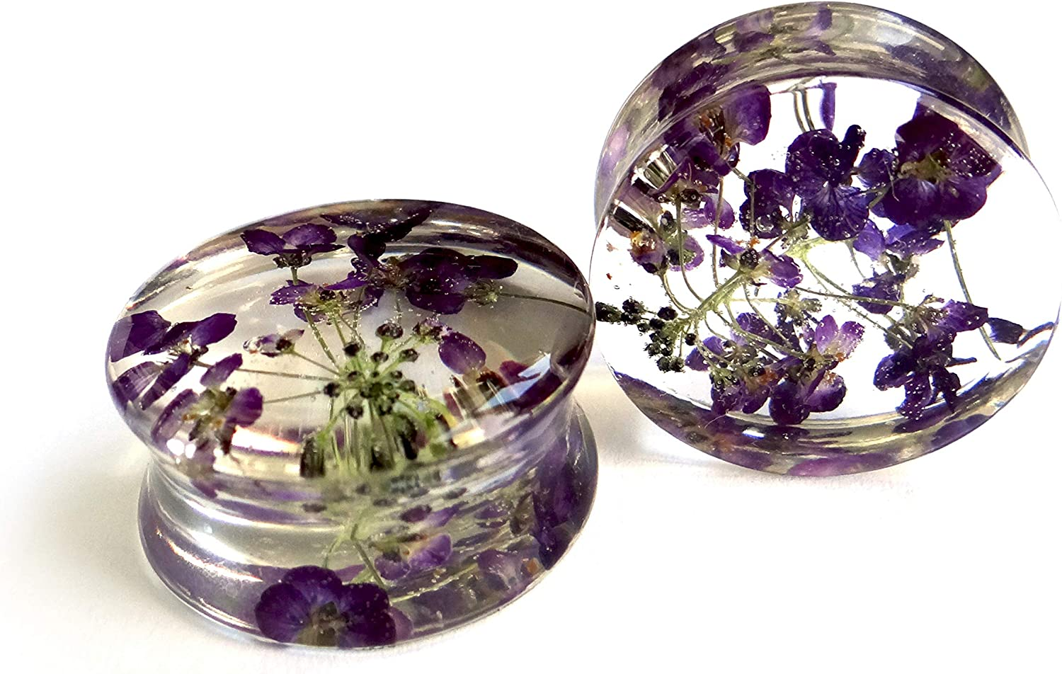 CLEARANCE 2g 6mm Purple Flower Ear Plugs Gauges Pair Wedding Real Pressed Wild Flowers Plant Nature Wiccan Body Jewelry MAGIC EARS by {118}