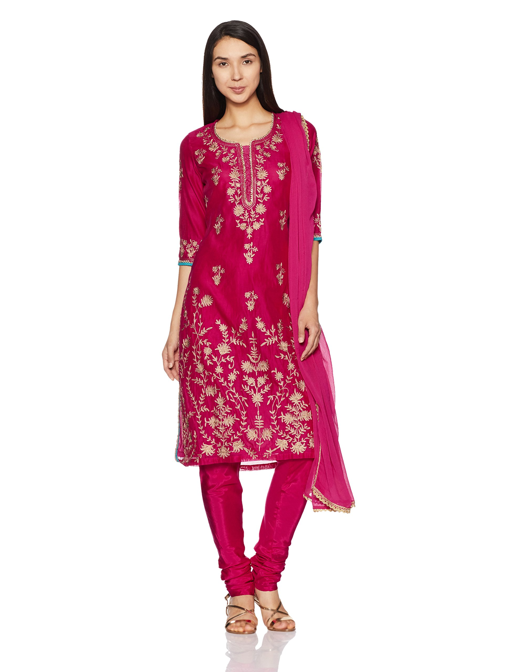 BIBA Women's Straight Poly Cotton Suit Set 42 Pink by Biba (Image #1)