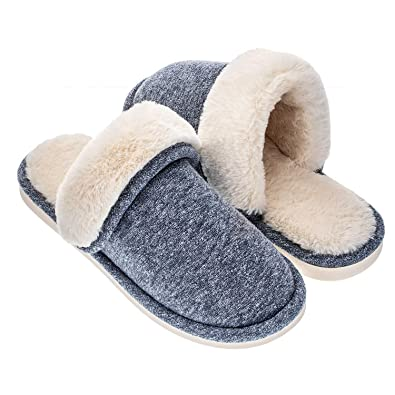 5d9918b16086 Echoapple Furry Slippers Indoor Non Slip Winter Memory Foam House Slippers  for Adult Men Women(