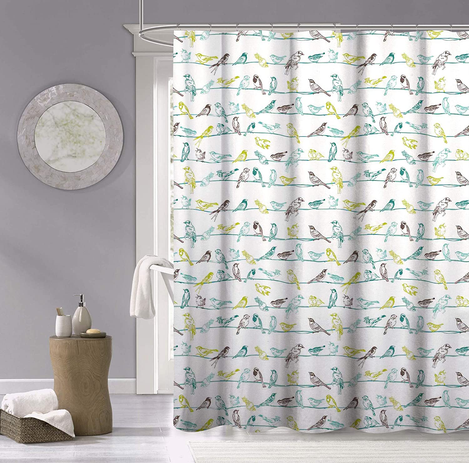 Dainty Home Birds 100% Cotton Fabric Shower Curtain, Multicolor