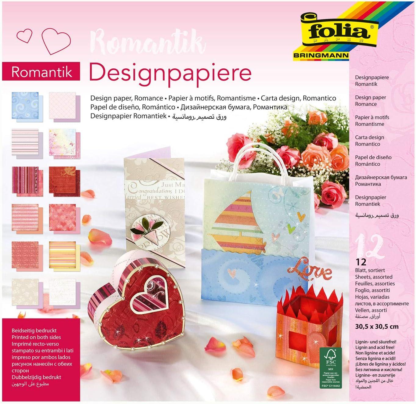 folia 10149 190 g//qm 12 Blatt sortiert in 12 verschiedenen Motiven 30,5 x 30,5 cm ca beidseitig bedrucktes hochwertig illustriertes Papier Designpapier Block Blumen