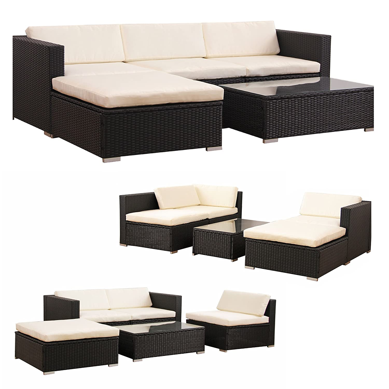 poly rattan lounge gartenset schwarz sofa garnitur polyrattan gartenm bel neu g nstig kaufen. Black Bedroom Furniture Sets. Home Design Ideas