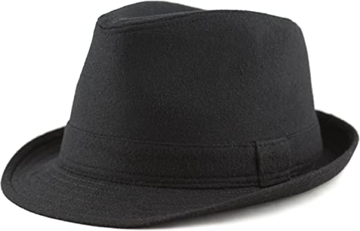 MENS GENTS Faux Suede Trilby Fedora Hat Black NEW S//M//L//XL