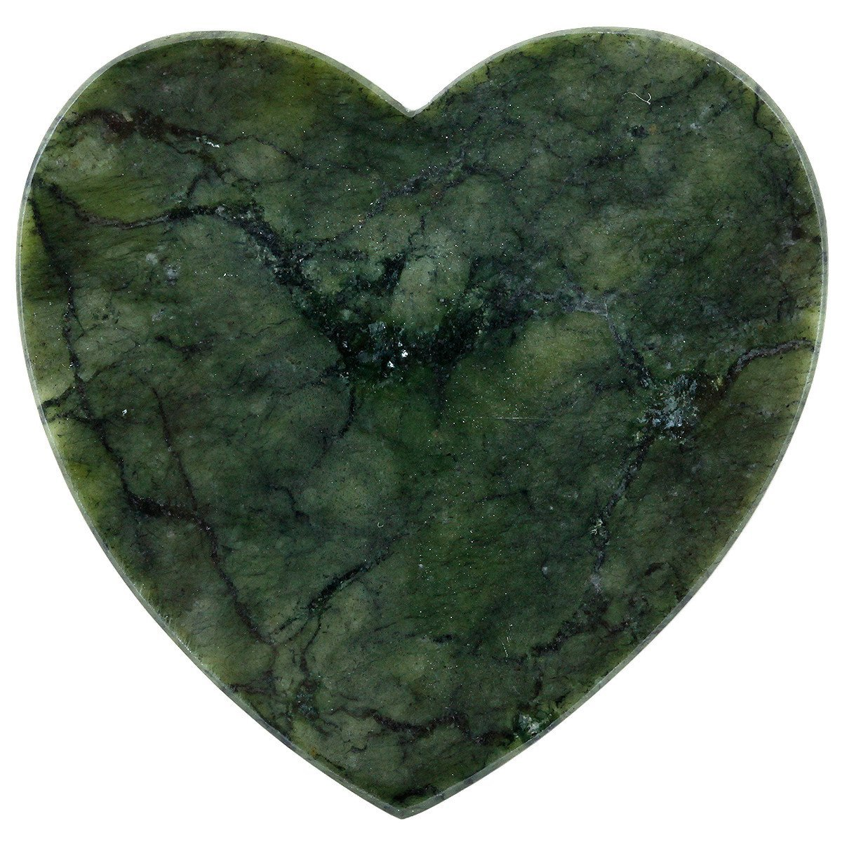 mookaitedecor Green Jade Slice Stone, Heart Shape Place Cards Slab Stones for Wedding Healing Crystal Home Decor