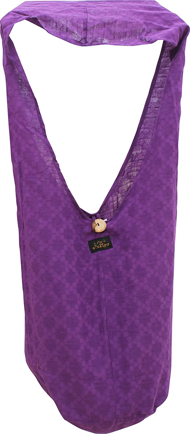 RaanPahMuang Brand Embossed Thin Cotton Thai Monks Large Yaam Shoulder Sling Bag Standard Violet