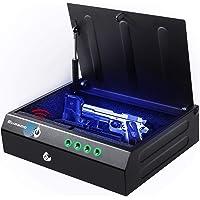 Gun Safe for Pistols with Fingerprint Digital Lock Key Quick Access Smart Biometric Pistol Safe for Home Personal Safe…