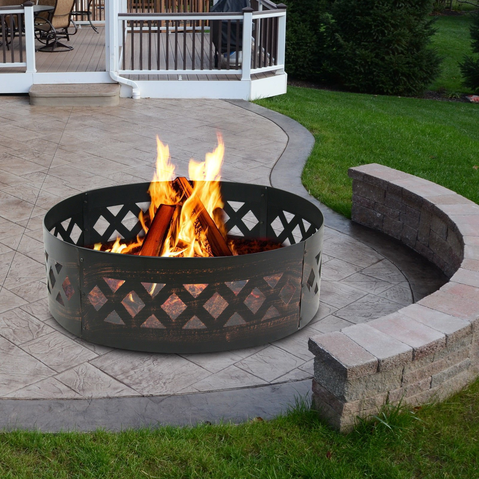 Nice1159 37'' Campfire Ring-Steel Outdoor Fireplaces, Heavy Duty In-Ground 12''(H) Warm Cold Night! Portable (Only 5 pcs Left) by Nice1159