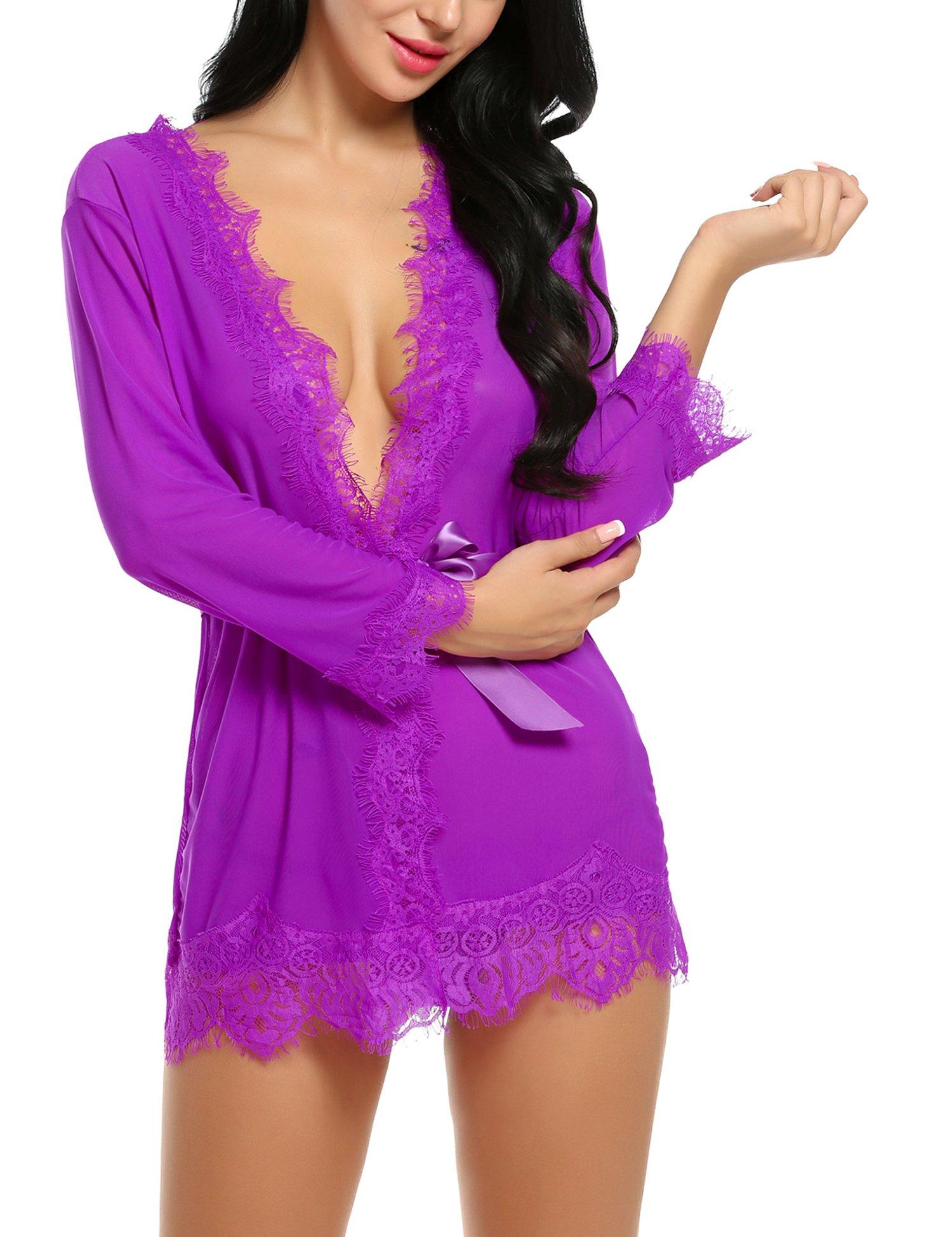 Avidlove Women's Lace Kimono Robe Mesh Babydoll Lingerie Chemise Purple S by Avidlove (Image #3)