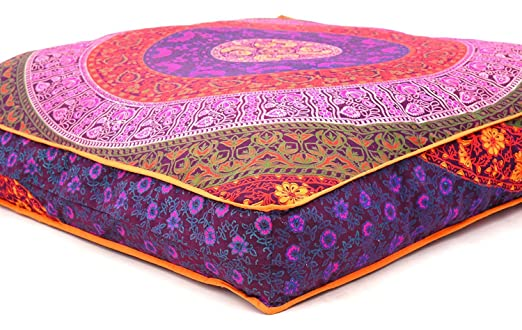 Violet Mandala Printed Flexible Soft Pets Bed Daybed Big Seating Floor Pillow Cover Dogbed Square Cotton Floor Pillow Dog Bed Cover