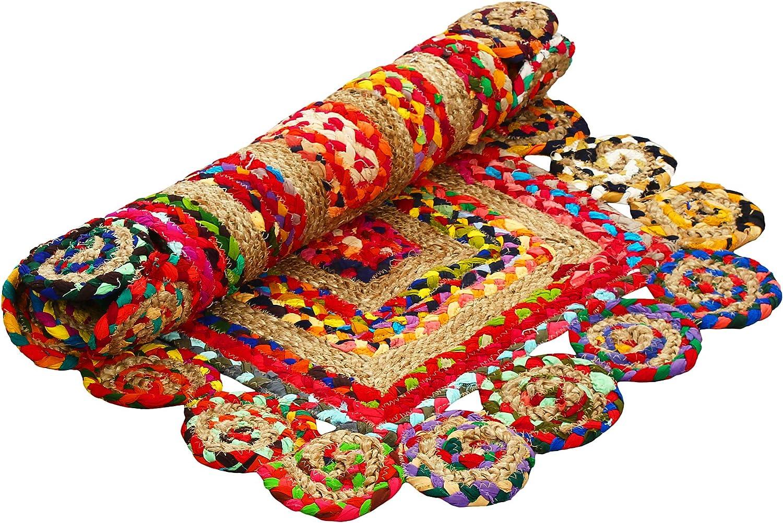 Aakriti Gallery Alfombra de algodón y yute, multicolor ...