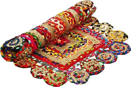 Aakriti Gallery - Alfombra india colorida, decorativa, rectangular con ribete redondo, de algodón y yute, hecha a mano, procedente del comercio justo, reciclada, estilo bohemio 180 x 120 cm.: Amazon.es: Hogar