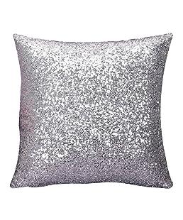 wuayi carré décoratif Solide Couleur Glitter Paillettes Throw Taies d'oreiller Housses de Coussin pour canapé Home Decor, Silver:40x40cm, Taille Unique