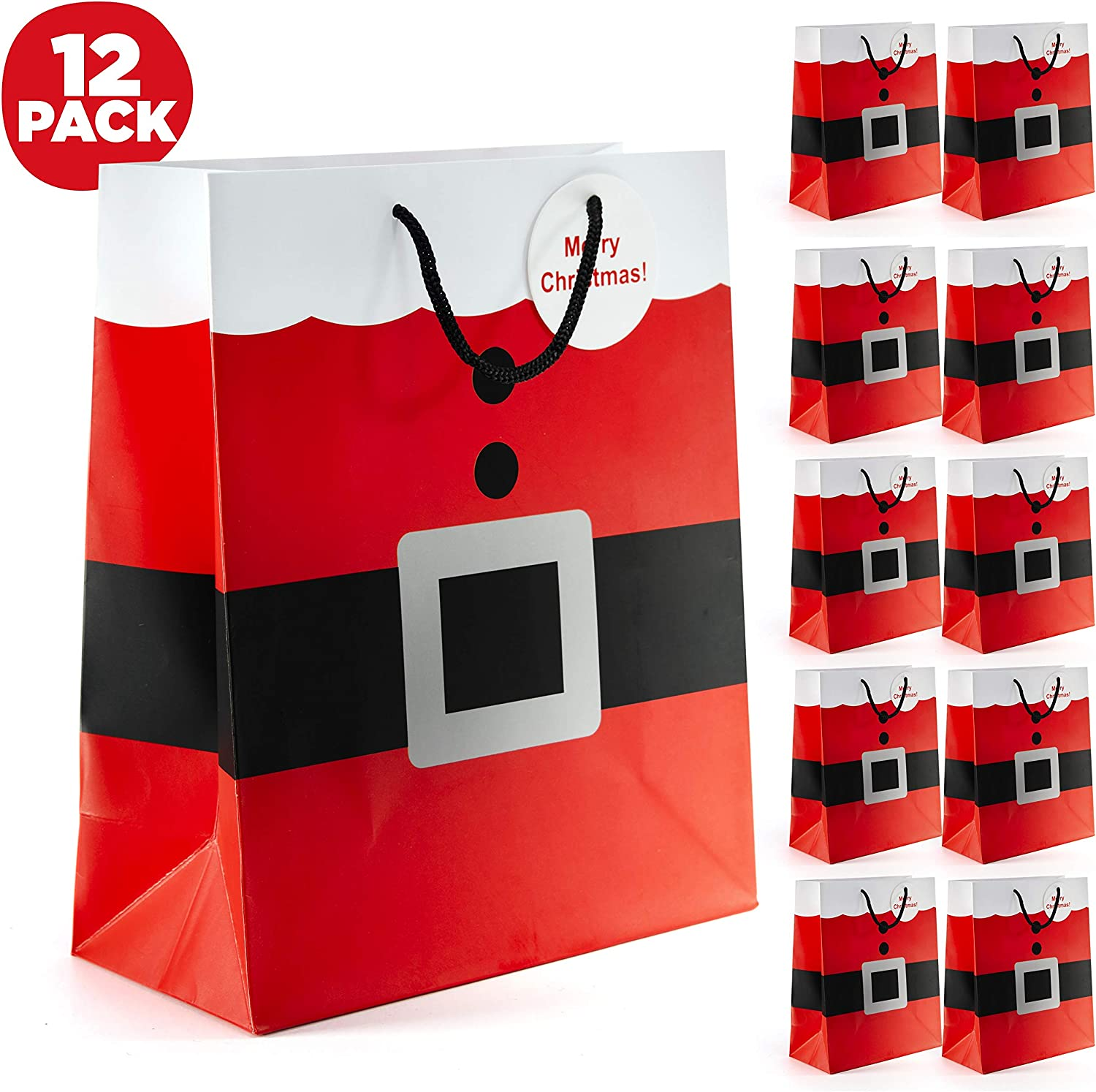 Prextex Santa Clause Suit Medium Gift Bags Bags - 12 Piece Pack