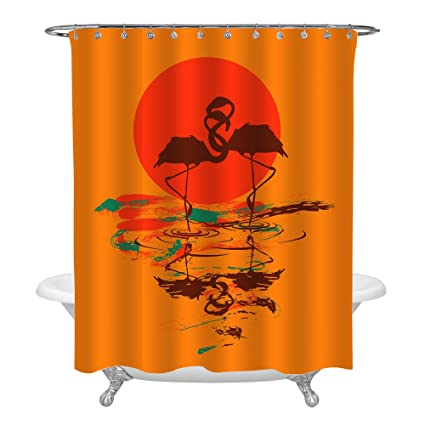 MitoVilla Romantic Style Nature Flamingos Bathroom Accessories For Home Decor Flamingo Couple Animal Themed Orange