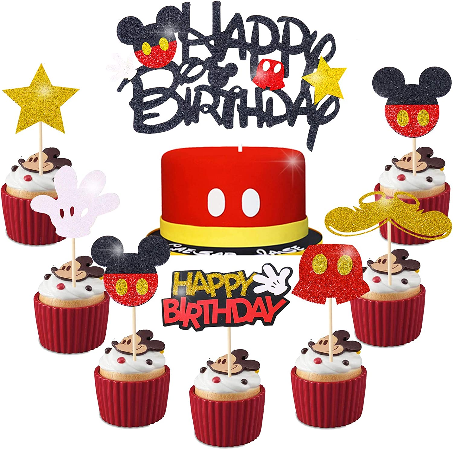 Amazon Com Mickey Mouse Cupcake Cake Toppers Decoration For Kids Birthday Baby Shower Clubhouse Supplies Micky Party 25pcs Topper Toys Games